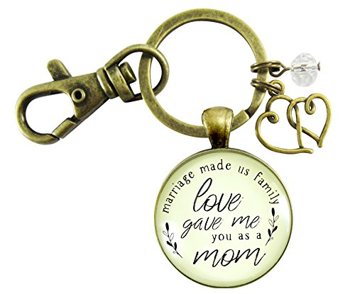 Mother In Law Keychain Blended Family Step Mom Gift Marriage Made Us Family Rustic Wedding Jewelry Heart Charm