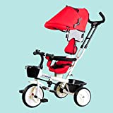 QXMEI Children's Tricycle Folding Bicycle Baby Stroller 1-3 Years Old Multi-functional Baby Stroller With Awning,Red2