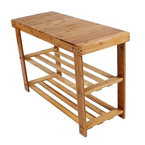 3-Tier Bamboo Shoe Rack Bench,Shoe Organizer Cabinet,Storage