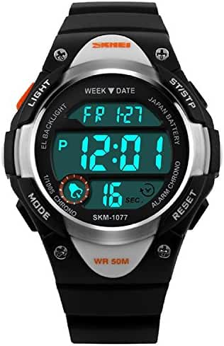 Bo Yi Kids Outdoor Sports Children's Waterproof Wrist Dress Watch With LED Digital Alarm Stopwatch Lightweight Silicone for Boy Girl (Black)