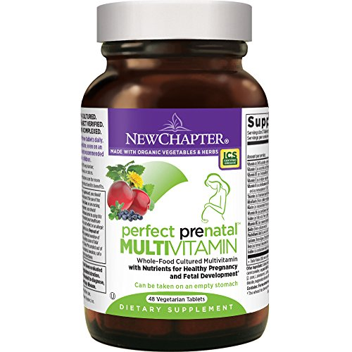 Kosher Prenatal Vitamins (New Chapter Perfect Prenatal Vitamins Fermented with Probiotics + Wholefoods + Folate + Iron + Vitamin D3 + B Vitamins + Organic Non-GMO Ingredients - 48 ct)