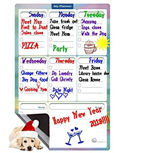 Magnetic Dry Erase Board- To Do List-Weekly Planner Magnetic Refrigerator Calendar-Smart Planner Grocery Shopping List-Schedule Board-Multipurpose Whiteboard for Fridge