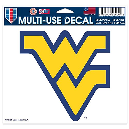 West Virginia Mountaineers Official NCAA 4.5 inch x 6 inch Car Window Cling Decal