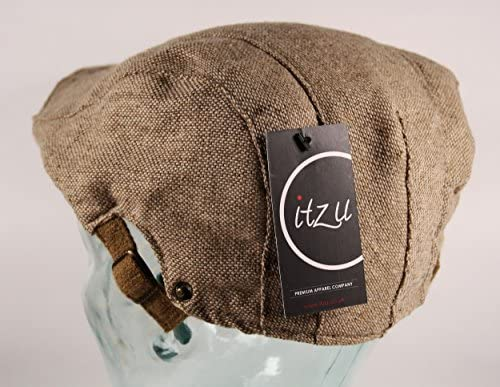 Itzu Mens Flat Cap Hat Woven Brushed Cotton Panel Tweed Gatsby in Natural Beige or Grey