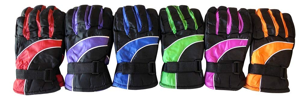 Yacht & Smith 6 Pairs Value Pack of Kids Thermal Sport Winter Warm Ski Gloves (Assorted)