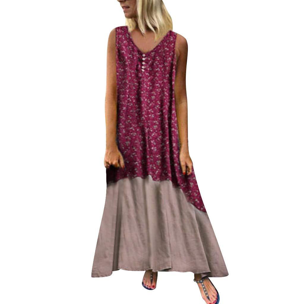 TOTOD Plus Size Dress Women's Casual Vintage Patchwork Loose Boho Retro Long Maxi Cotton Linen