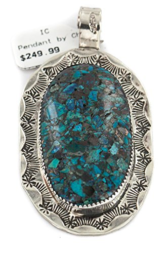 - $250Tag Certified Navajo Nickel Natural Chips Inlaid Turquoise Native Pendant 17087 Made by Loma Siiva