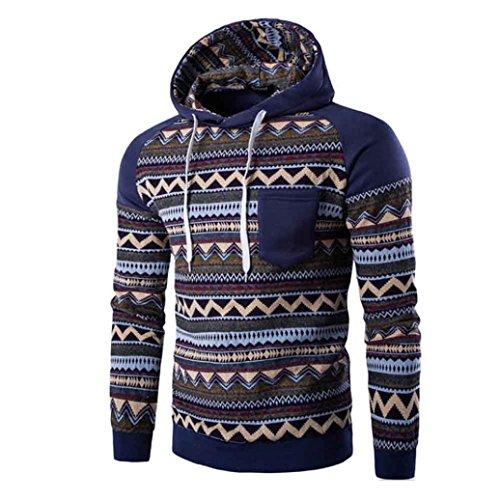 [XUANOU Men Retro Printed Winter Warm Hooded Sweatshirt Jacket Coat Outwear (Large, Dark Blue)] (Red Coat Army Costume)