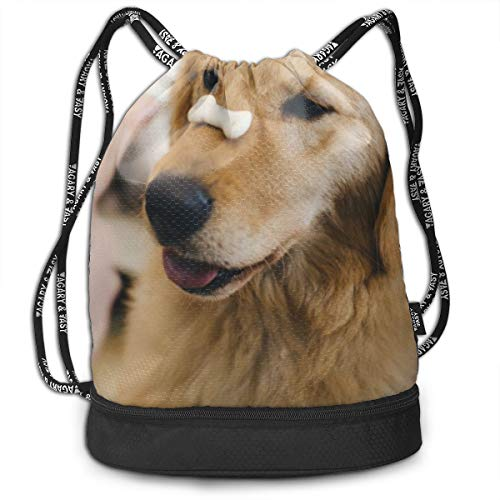 - Adult Golden Retriever with Cookie Bone On Nose Fashion Outdoor Shopping Canvas Backpack Bundle Pocket Backpack Rope-Pulling Bag Sports Bag for Fitness Shopping Yoga