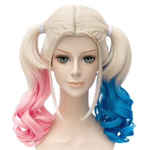 Angelaicos Womens Lolita Gradient Color Highlights Party Costume Hair Full Wigs (45cm Blonde Pink (Harley Quinn Hair)