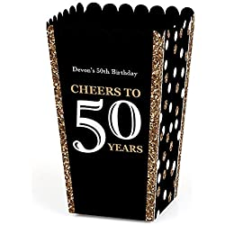 Big Dot of Happiness Personalized Adult 50th Birthday - Gold - Custom Birthday Party Favor Popcorn Treat Boxes - Custom Text - Set of 12