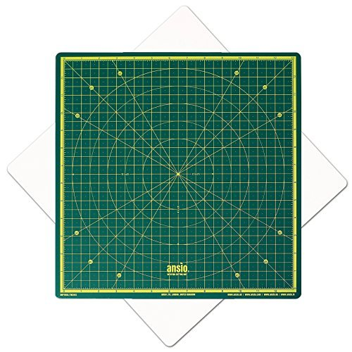 Cutting Mat, Self Healing Cutting Mat, Hobby Cutting Mat, Sewing Cutting Mat, Rotatable Cutting Mat Imperial 13 inch x 13 inch - Green by ANSIO
