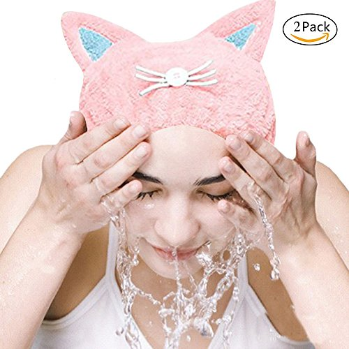 PHNAM Cute Hair Drying Towel Cap Ultra Soft Water Absorbent Hair Wrap Hat for Women Adult and Child (2 Pack) (cat(blue pink))]()