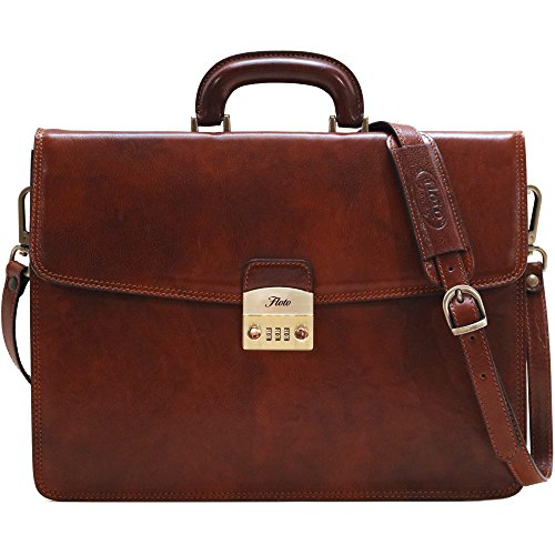 Floto Milano Combo Full Grain Leather Briefcase Attache ()