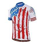 MILOTO Men's Cycling Jersey Short Sleeve Reflective USA Flag Size M