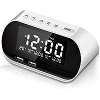 Chimaera Digital Radio Alarm Clock with Two USB Charger (White)