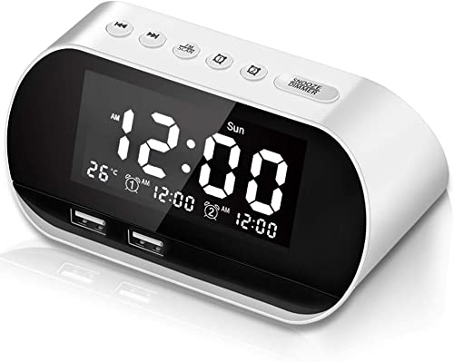 CHIMAERA Alarm Clock for Heavy Sleepers,Alarm Clock Radio with Two USB Charger Alarm Clock for Bedrooms with FM,Digital Alarm Clock with Dual Alarm Clock,Sleep Timer, Dimmer and Battery Operated