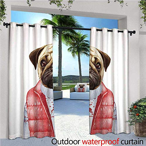 cobeDecor Pug Outdoor Blackout Curtains Red Vest and Christmas Sweater on a Adorable Dog Hand Drawn Animal Fun Image Outdoor Privacy Porch Curtains W120 x L108 Pale Brown Red White