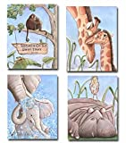 Baby Safari Animal Canvas Wall Art Personalized Monkey For Nursery, Set Of 4 Canvases, Jungle Themed Boy Or Girl Bedroom, 5 Sizes 8x10'' to 24x36'' Poster