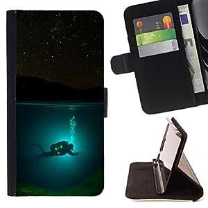 - Scuba Diver Diving Underwater Tank Night - - Prima caja de la PU billetera de cuero con ranuras para tarjetas, efectivo desmontable correa para l Funny HouseFOR Sony Xperia Z3 D6603