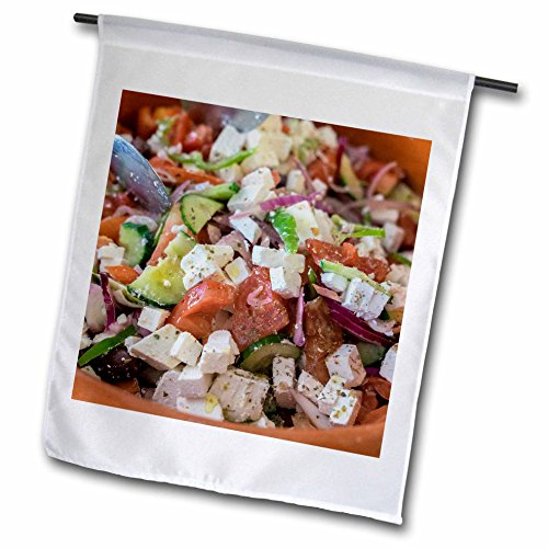 3dRose Danita Delimont - Food - Greek salad, Tourist Club, Olympia, Greece, Europe - 18 x 27 inch Garden Flag (fl_277445_2)