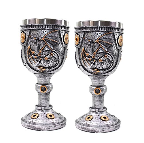 Set of 2 Mythical Silver Royal Dragon Wine Goblet Skulls Steampunk with Gears Collectible Halloween Party Home Decor Gift ()