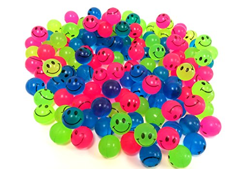 Mini Neon Smiley Face Bouncing Balls  144 Balls  By Dondor