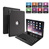 iPad Pro 10.5 Keyboard Case, Penban Wireless Bluetooth 135° Rotatable Aluminum Shell Smart Folio Keyboard Case Cover with 7 Colors Backlit for Apple iPad Pro 10.5 inch (Black)