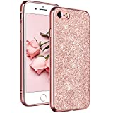 YINLAI iPhone 8 Case, iPhone 7 Case Glitter, Bling Glitter Sparkle Soft TPU Bumper Hard PC Back Cover with Shiny Faux Leather Shockproof Protective Phone Cases for iPhone 7 / iPhone 8 (4.7 inch) - Rose Gold / Pink