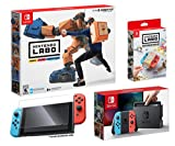 Nintendo Switch and LABO Robot Kit Starter Bundle (4items): Nintendo Labo Robot Kit, Official Nintendo LABO Customization Set, Screen Protector and Nintendo Switch 32GB Console - Neon Red/Neon Blue Jo