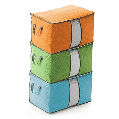 3pcs bolsa de almacenamiento edredón, 60x42x36cm de gran capacidad de bambú colcha de carbón almohada manta organizador...