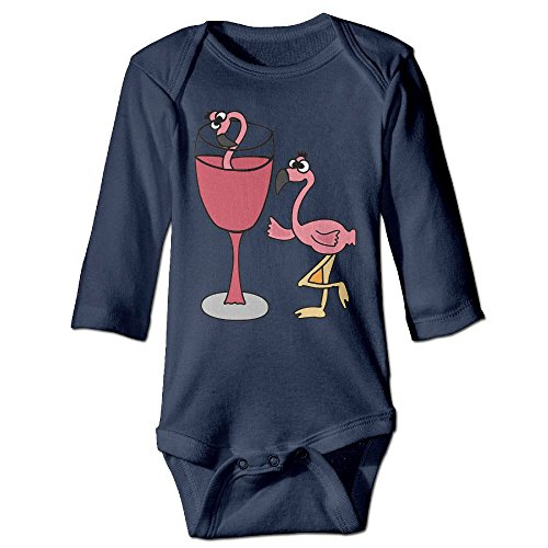 STARLY Pink Flamingo In Blush Wine Glass Newborn Baby Long Sleeve Climbing Clothes Infant - Glasses Lawrence Jennifer
