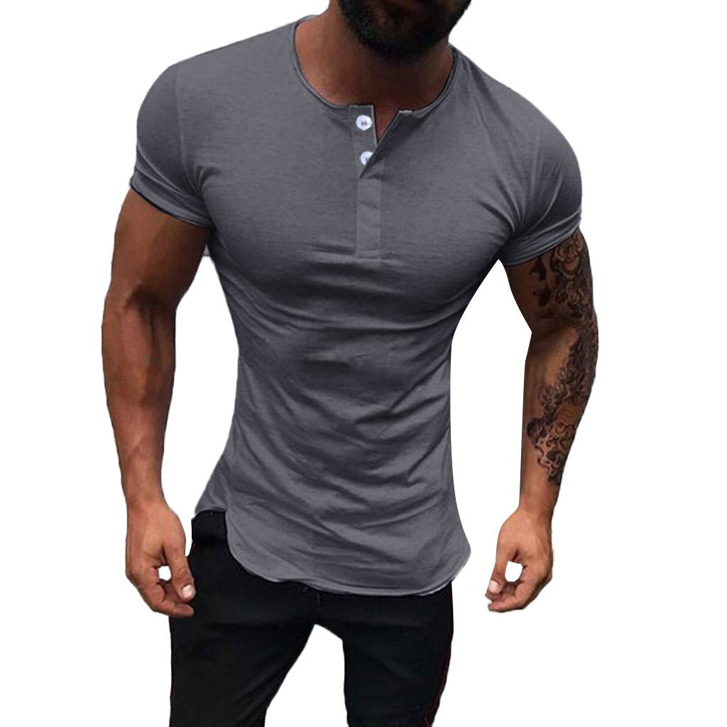 YOMXL Men's Basic Sports T-Shirts Causal Short Sleeve Quick-Dry Polo Shirts Cotton Tee Half Button Tops Dark Gray by YOMXL