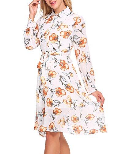 Acevog Imprimé Floral Manches Longues Torche En Forme Pat1 Robe Casual Femmes