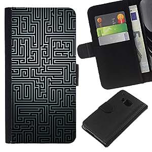 All Phone Most Case / Oferta Especial Cáscara Funda de cuero Monedero Cubierta de proteccion Caso / Wallet Case for HTC One M9 // Maze Black White Puzzle Mystery Pattern Lines