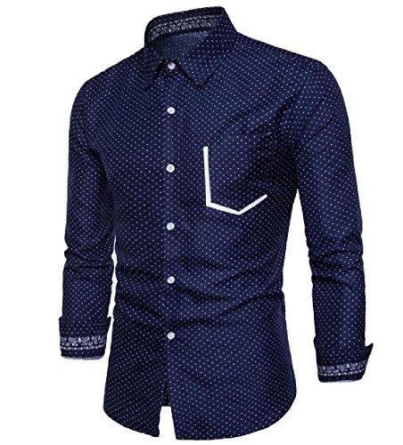 Doufine Men's All-Match Pocket Autumn Floral Long Sleeve Polka Dot Shirts Navy Blue XL by DoufineMen (Image #2)