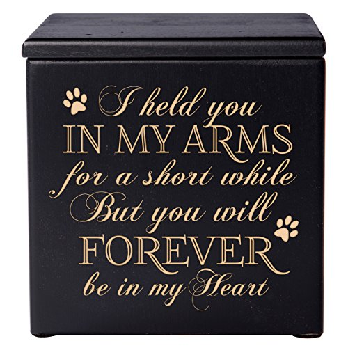 Cremation Urns for Pets, SMALL Memorial Keepsake box for Dogs and Cats, Urn for pet ashes I held you in my arms for a short while but you will forever Holds SMALL portion of ashes (black)