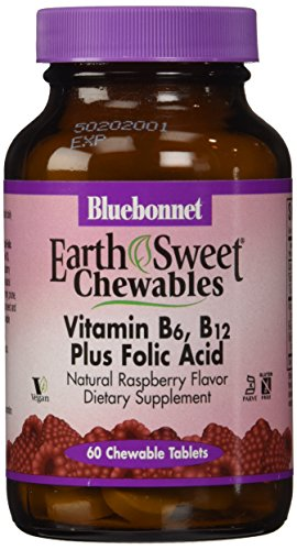 Bluebonnet Earth Sweet Vitamin B-6, B-12, Plus Folic Acid Tablets, Raspberry, 60 Count