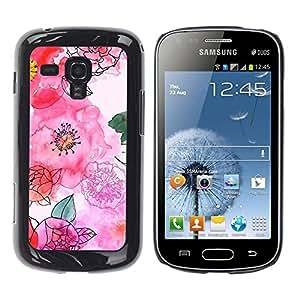 FECELL CITY // Duro Aluminio Pegatina PC Caso decorativo Funda Carcasa de Protección para Samsung Galaxy S Duos S7562 // Hand Drawn White Flowers Floral