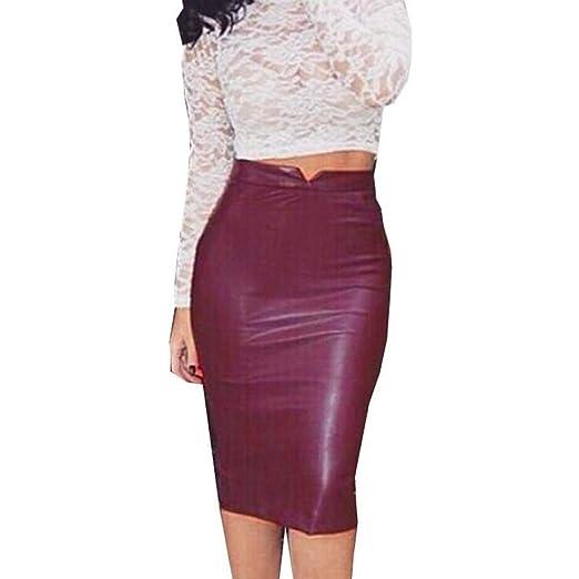 Qiusa Mujer PU Falda de Cuero Cintura Alta Slim Bodycon Falda de ...