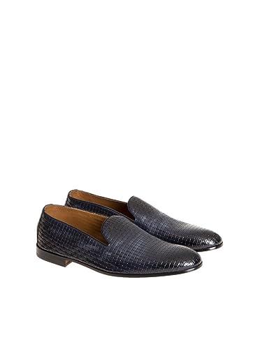 Homme Doucal's 1075uf6e Bleu Cuir Chaussures Mocassins v4UfzYWU