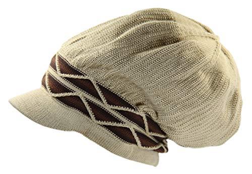 Wave Visor - 100% Cotton Rasta Dreadlock Wave Beanie Visor (Khaki/Brown)