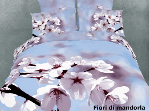 - Dolce Mela DM401K Fiori Di Mandorla 6-Piece Cotton Duvet Cover Set, King