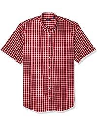 0e16f58a909a Arrow Men's Big and Tall Hamilton Poplins Short Sleeve Button Down Plaid  Shirt