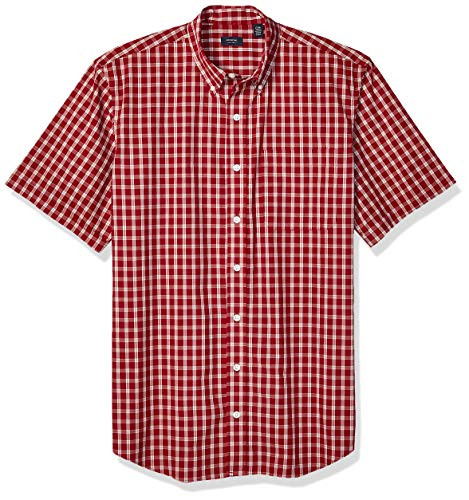 (Arrow 1851 Men's Big and Tall Hamilton Poplins Short Sleeve Button Down Plaid Shirt, Biking red, 2X-Large)