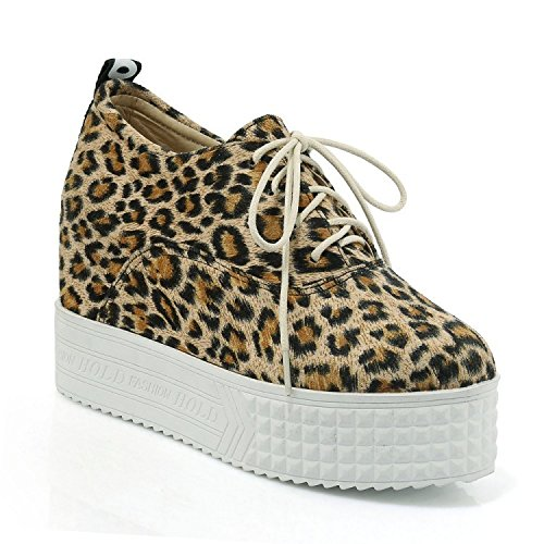 erhöhen ZHZNVX Herbst Boden Muffin Boden Sandalen hochhackige leopard dicken Schuhe koreanische grain Schuhe 1d1wrIq