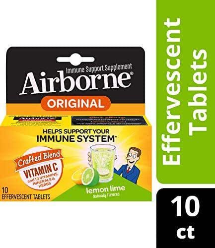 Airborne Lemon Lime Effervescent Tablets, 10 Count - 1000mg of Vitamin C - Immune Support Supplement (Packaging May Vary) (Pack of 4)