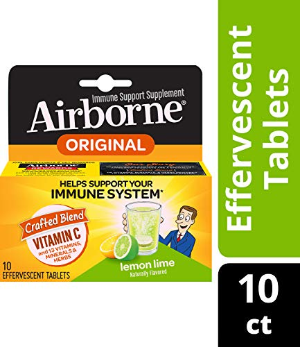 Airborne Vitamin C 1000mg Immune Support Supplement, Effervescent Formula, Lemon Lime, 10 Count (Packaging May Vary) ( Pack of 3)