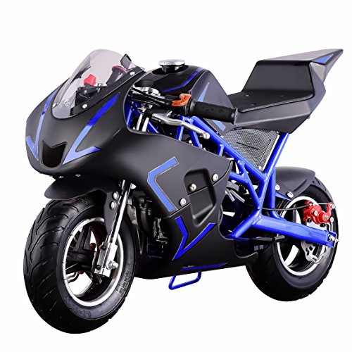 Stroke Super Mini Pocket Bike (4-Stroke 40CC Kids Gas Pocket Bike (EPA Registered, NO CA sales), Blue/Black)