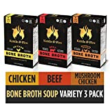 Bone Broth Variety Pack, Mushroom Chicken, Beef, and Chicken by Kettle and Fire, Keto Diet, Paleo Friendly, Whole 30 Approved, Gluten Free, with Collagen, 10g of Protein (Pack of 3) Larger Image
